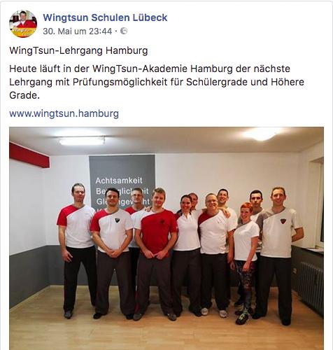 Screenshot aktueller Beitrag der Facebook Seite von der WingTsun-Akademie Lübeck