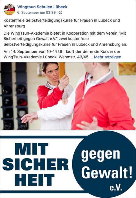 Screenshot der Facebook Seite von der WingTsun-Akademie Lübeck